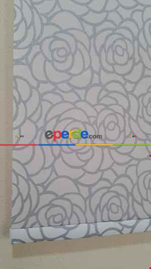 Gri Simli Gül Desen Stor- Gri-füme-antrasit-beyaz-gri Simli- Çok Renkli 2