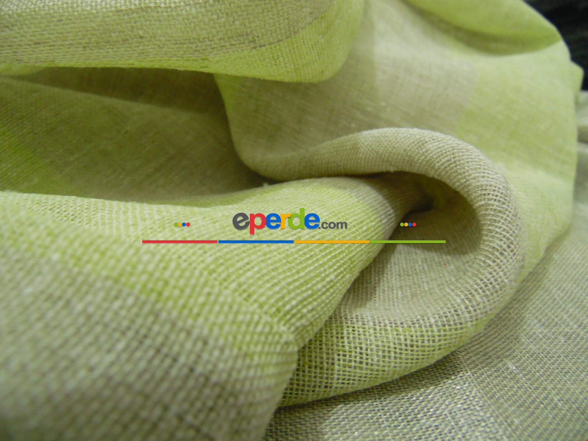 Çizgili Keten Fon Perde - Fıstık Yeşili 80cm X 250cm