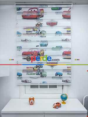 Bebek Odası Zebra Perde - Şimşek Mcqueen Zebra Perde - Arabalar Zebra- Mavi