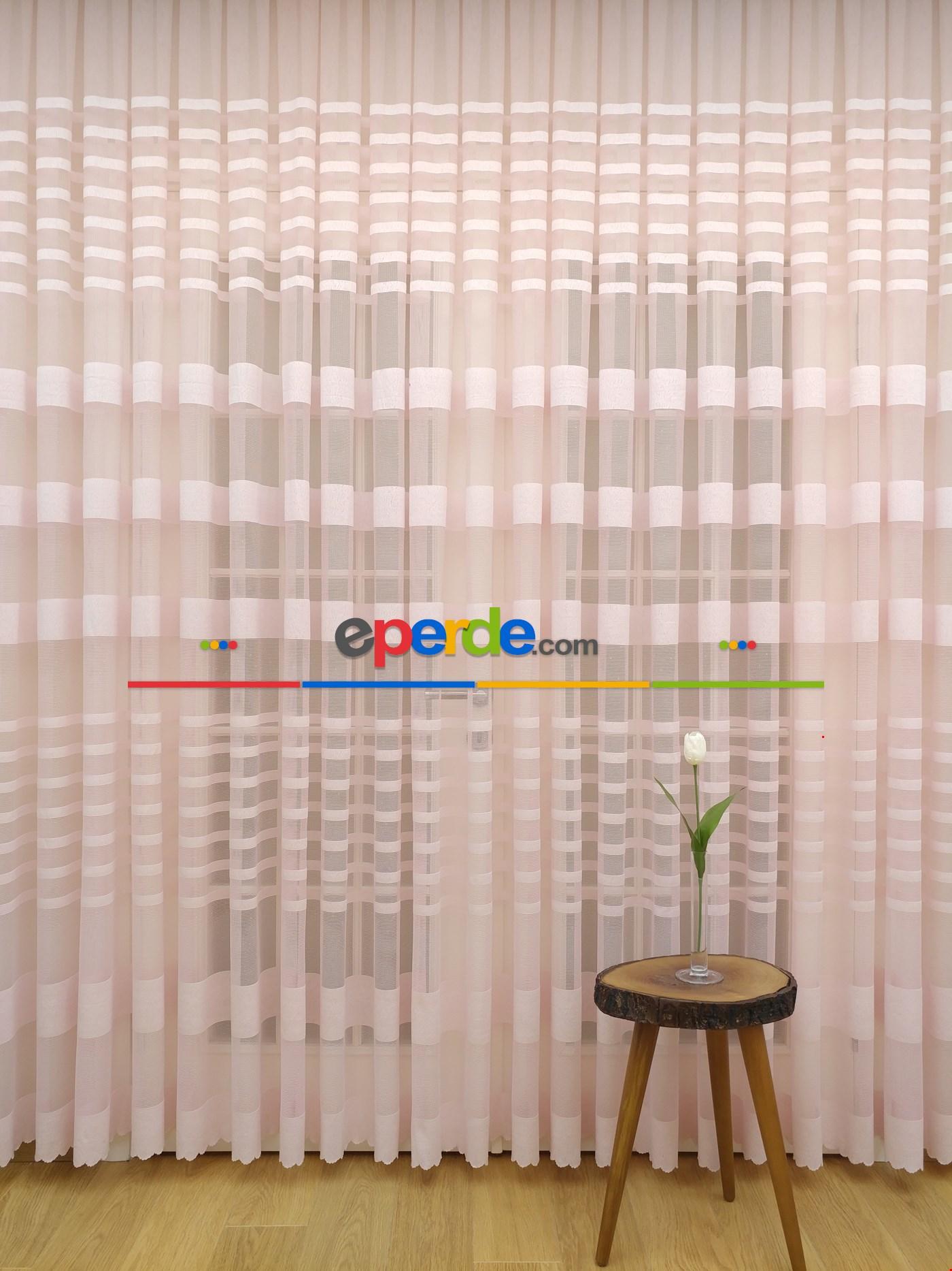 Yatak Odası Tül Perde Pudra Pembe Düz Model Bantlı