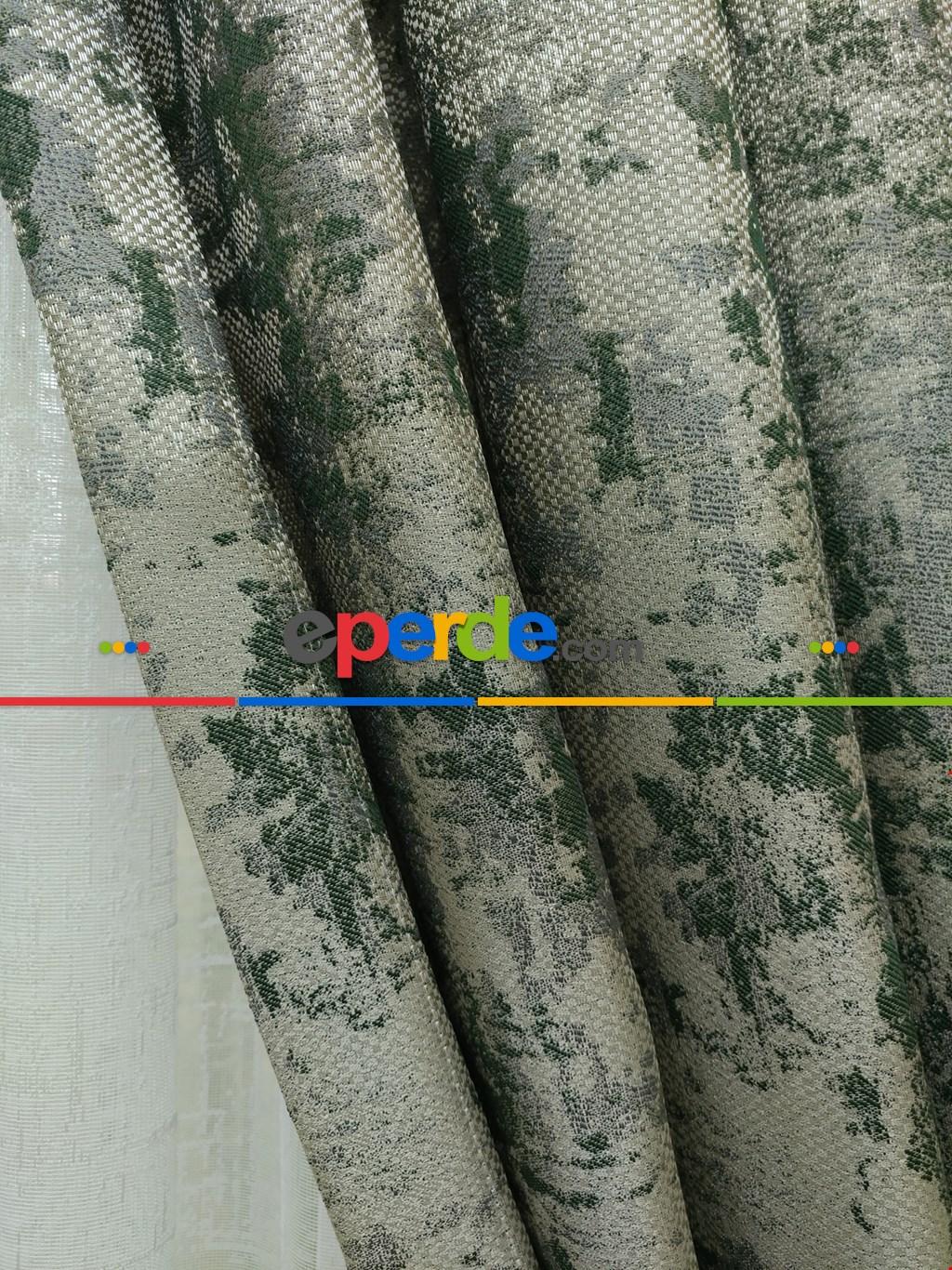 Yeşil Bej Rengi Duz Jakar Fon Perde (150)- Yeşil Koyu Yeşil