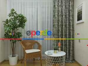 Salon Perdesi - Bej Koyu Yeşil Desenli Jakar Fon Perde (180)- Yeşil Koyu Yeşil