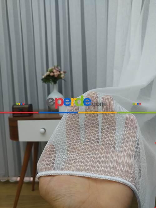 ( Orjinal ) Fantazi İnce Çizgili Tül Perde Kurşunlu Resimdeki Pile 1/3- Ekru