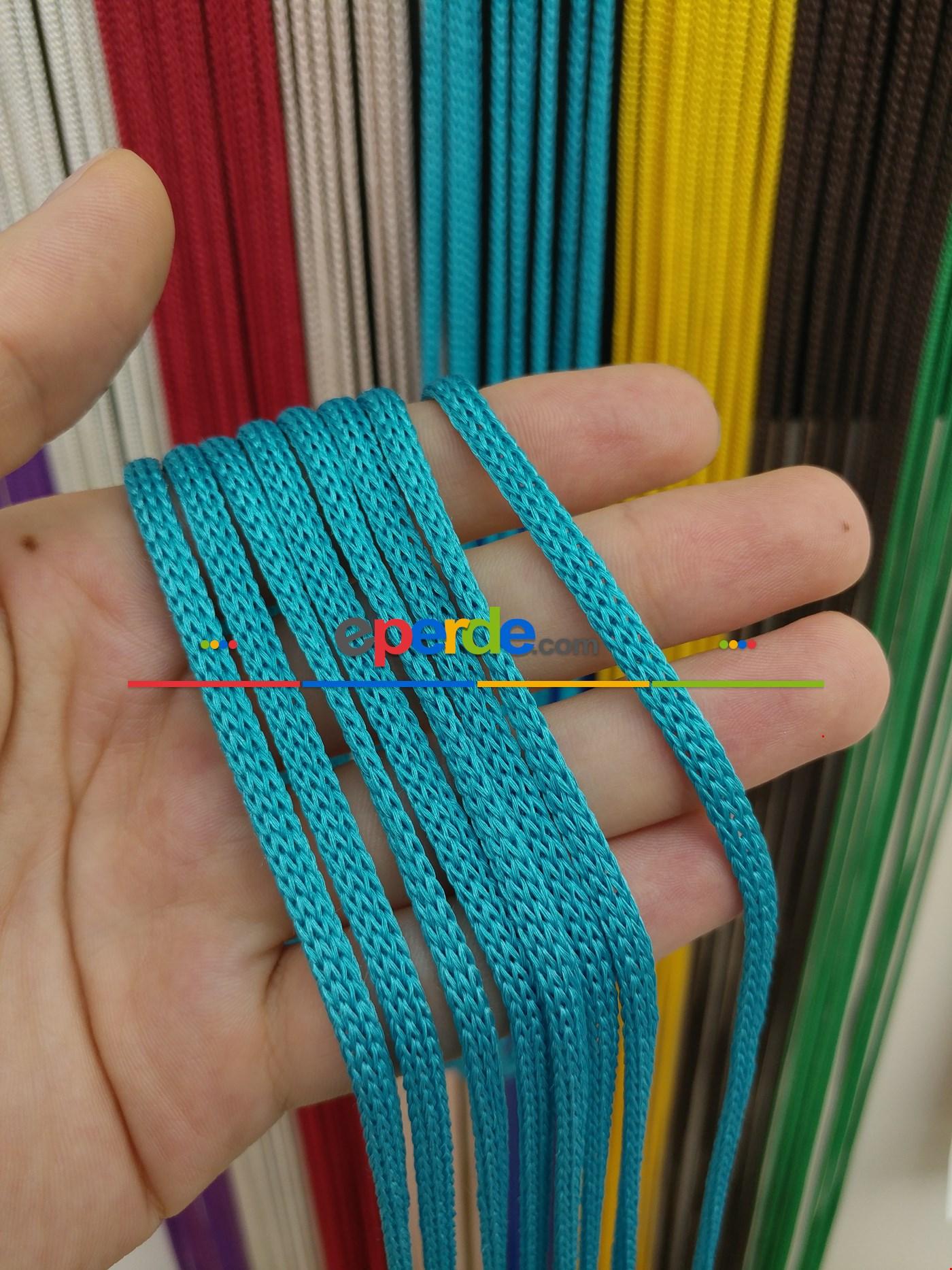 Gri Rengi İp Perde Jumbo Zincir Serisi Mavi