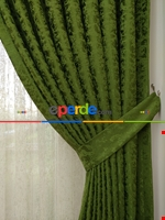 Toprak Rengi Duz Jakar Fon Perde (180)- Kahverengi Yeşil
