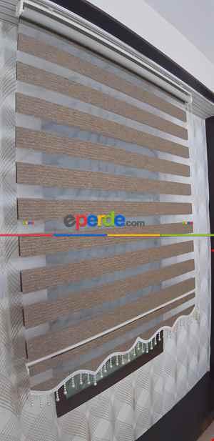 Salon Zebra - Koyu Çizgili Kahve Bambu Zebra Perde- Kahve Koyu