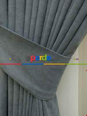 Salon Gri - Düz Fon Perde ( En 150cm Dökümlü Fon Perde)- Gri-Füme-Antrasit