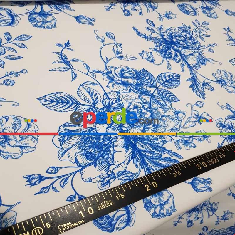 Çiçek Desenli Fon Perde Evm372 - Kumaşı Kalındır Duck Bezi Değildir.- Lacivert-Mavi-Beyaz-Çok Renkli