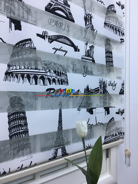Siyah Paris-newyork-italy Desenli Baskılı Zebra Perde