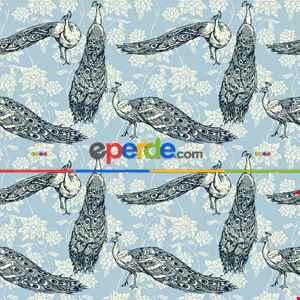 Tavuskuşu Desenli Fon Perde Evm709 Kumaşı Kalındır Duck Bezi Değildir- Siyah-Beyaz-Mavi Açık