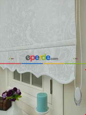 Mutfak Desenli Stor Perde- Beyaz