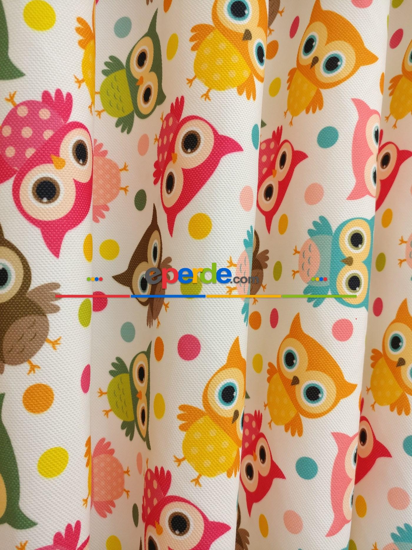Kız & Erkek Çocuk Odası Baykuşlar Fon Perde Modelleri