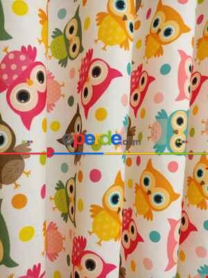 Kız & Erkek Çocuk Odası Baykuşlar Fon Perde ( Kalın Pamuklu Kumaş)- Pembe-fuşya-hardal Sarısı-turkuaz