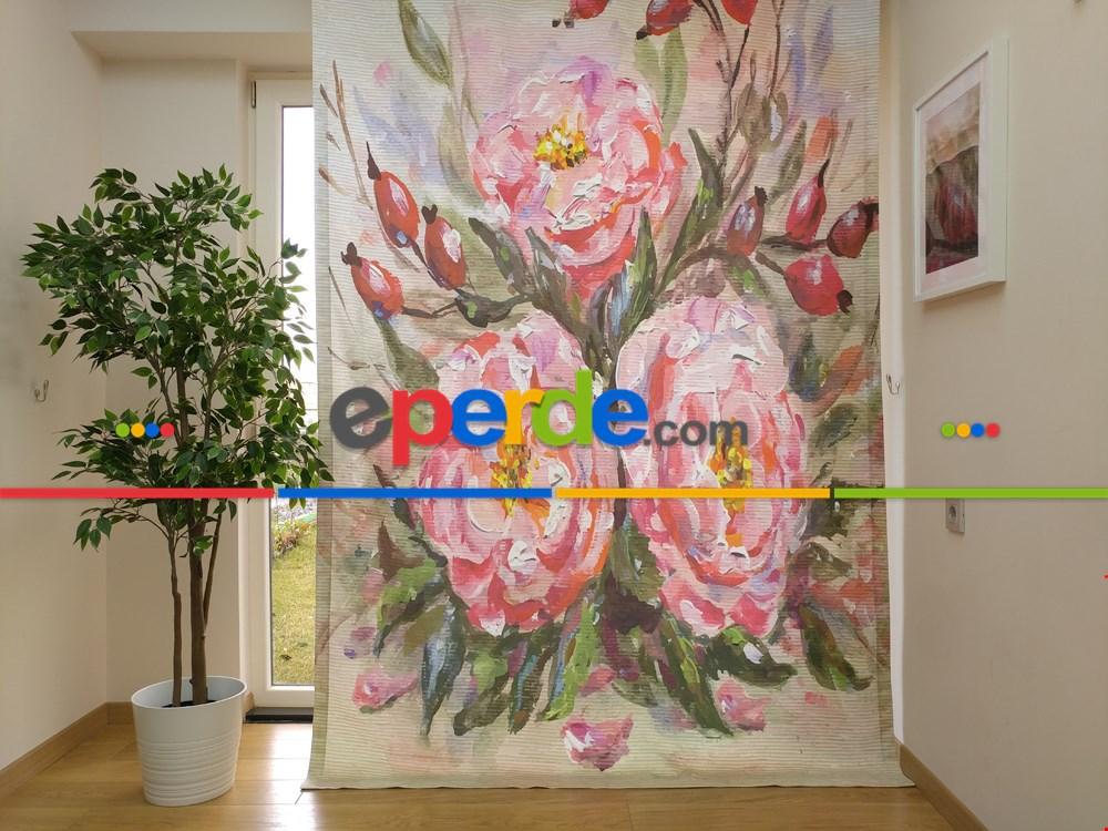 Pano Çiçek Desenli Fon Perde - Pembe - Yeşil 170cm X 240cm