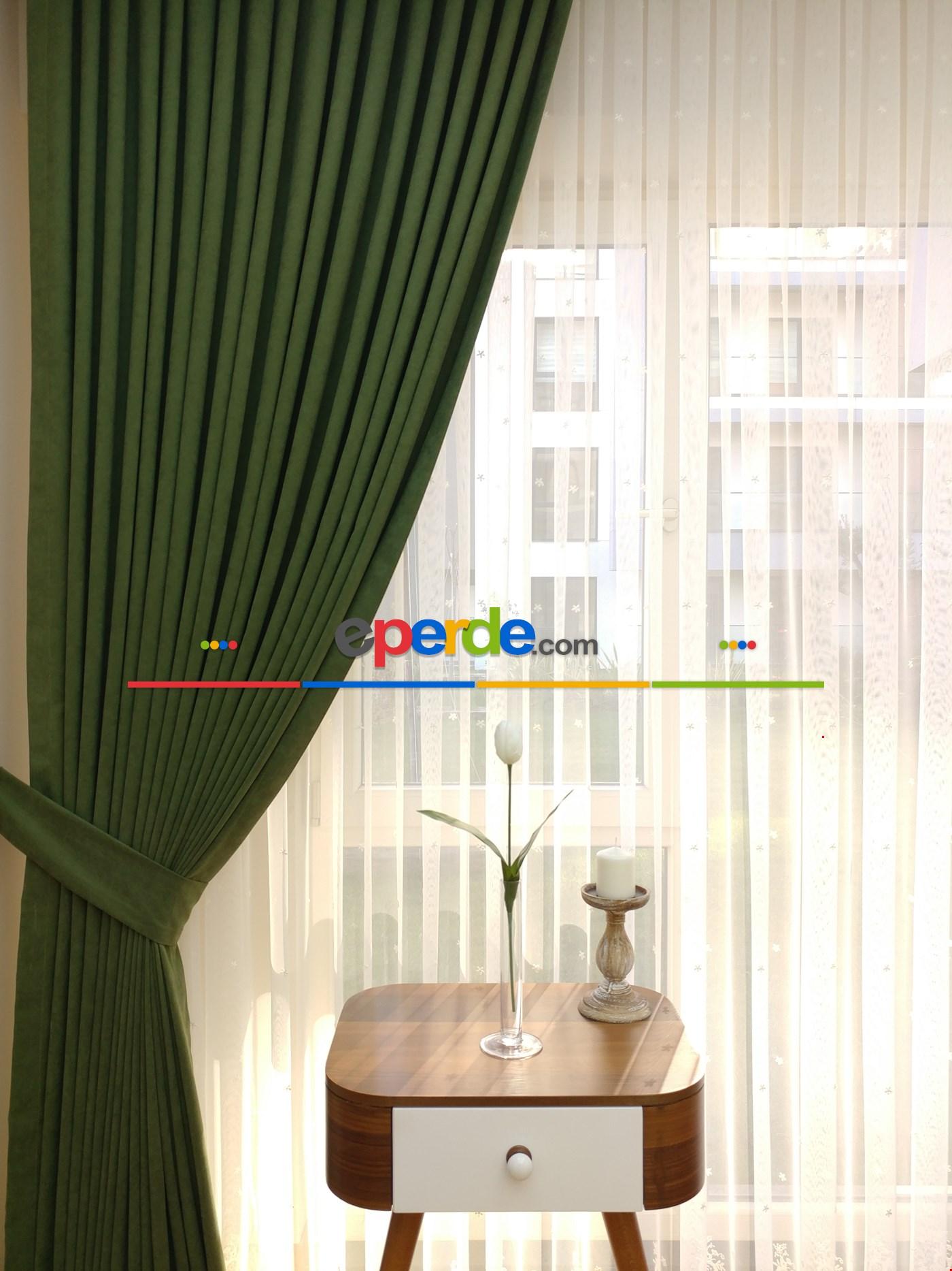 Kahverengi - Düz Fon Perde ( En 180cm Dökümlü Fon Perde) Yeşil Koyu Yeşil