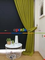 Gri Düz Renk Dökümlü Fon Perde (150)- Gri Yeşil