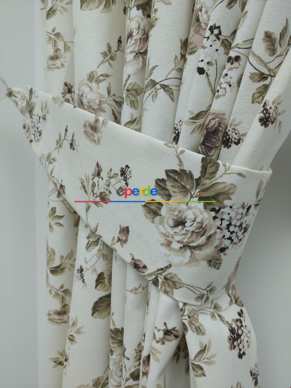Çiçek Baskılı Duck Bezi Fon Perde