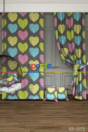 Çocuk Odası - Renkli Kalpler Desenli Baskılı Fon Perde
