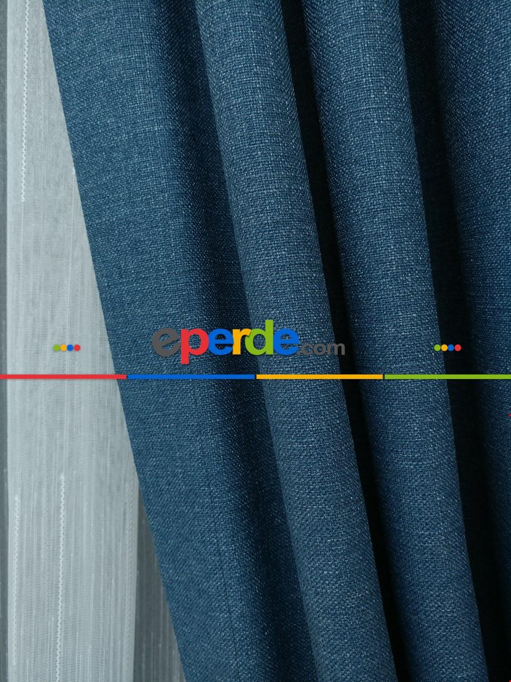 Salon Fon Perde - Keten Mavi Renk Düz Fon Perde (180cm En)- Mavi