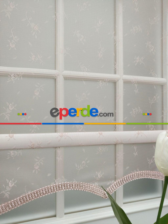 Pembe Çiçek Desenli Dantel Tül Çiftli Sistem İkili Perde
