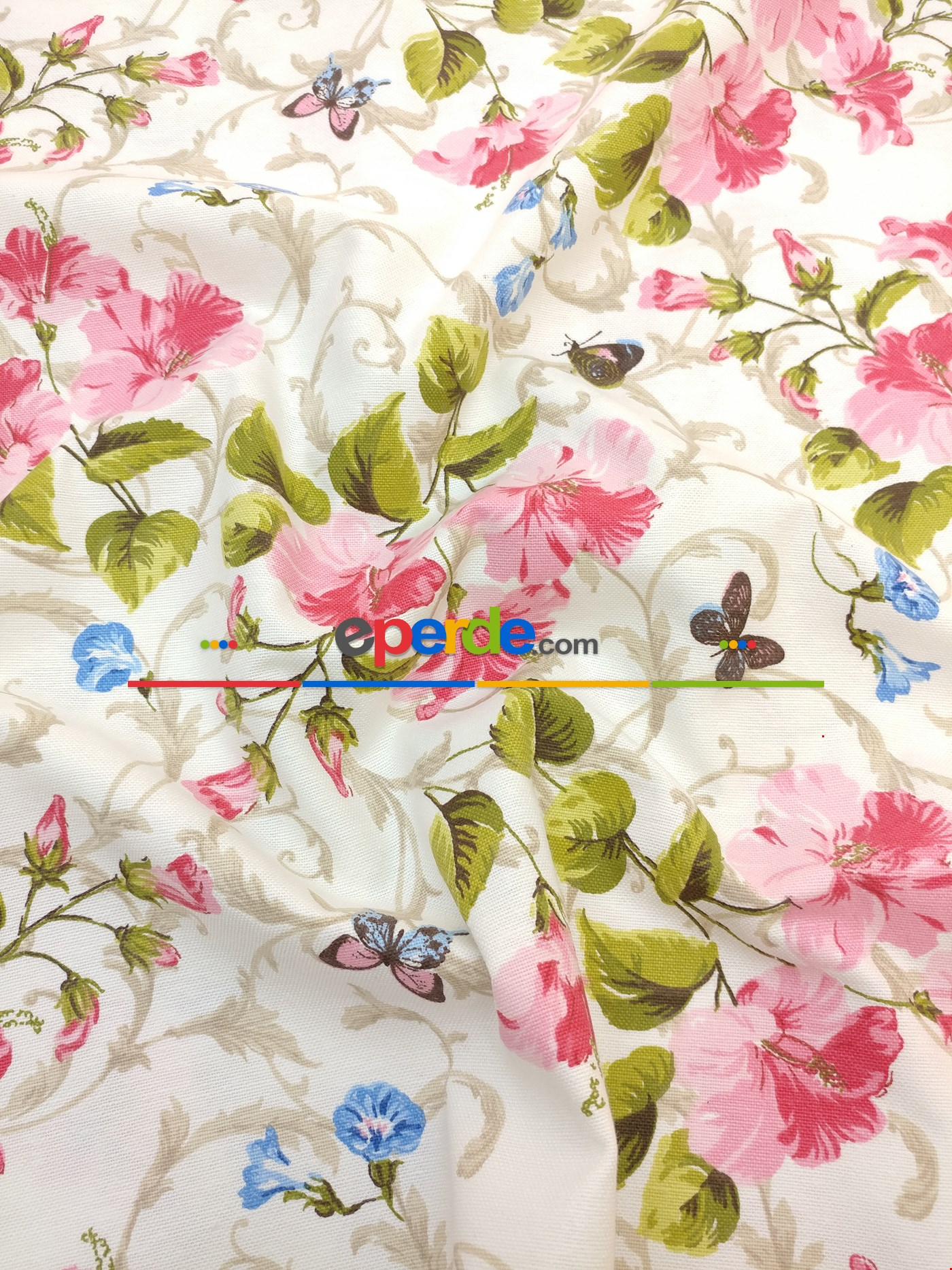 Pembe Gül Çiçek Desenli Fon Perde - Kombinli ( Leke Tutmaz )