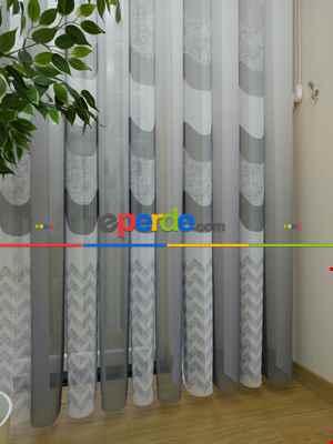 Salon - 1. Kalite Baskılı Tül Dikey Zebra Perde Degrade Ve Keten- Gri-Füme-Antrasit
