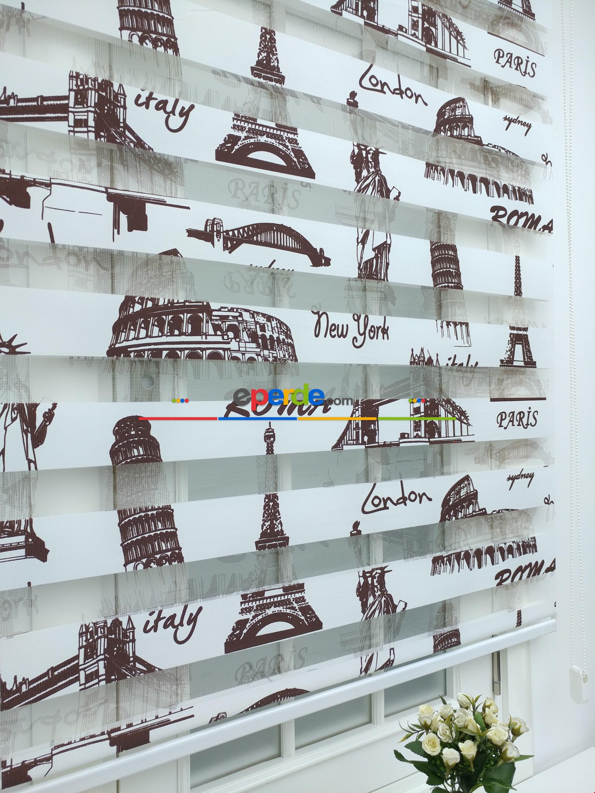 Paris Baskılı Zebra Perde 100x200cm