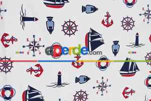 Fon Perde Denizci - Çapalı Fon Perde ( Kalın Pamuklu Kalın Kumaş )- Lacivert-mavi-kırmızı