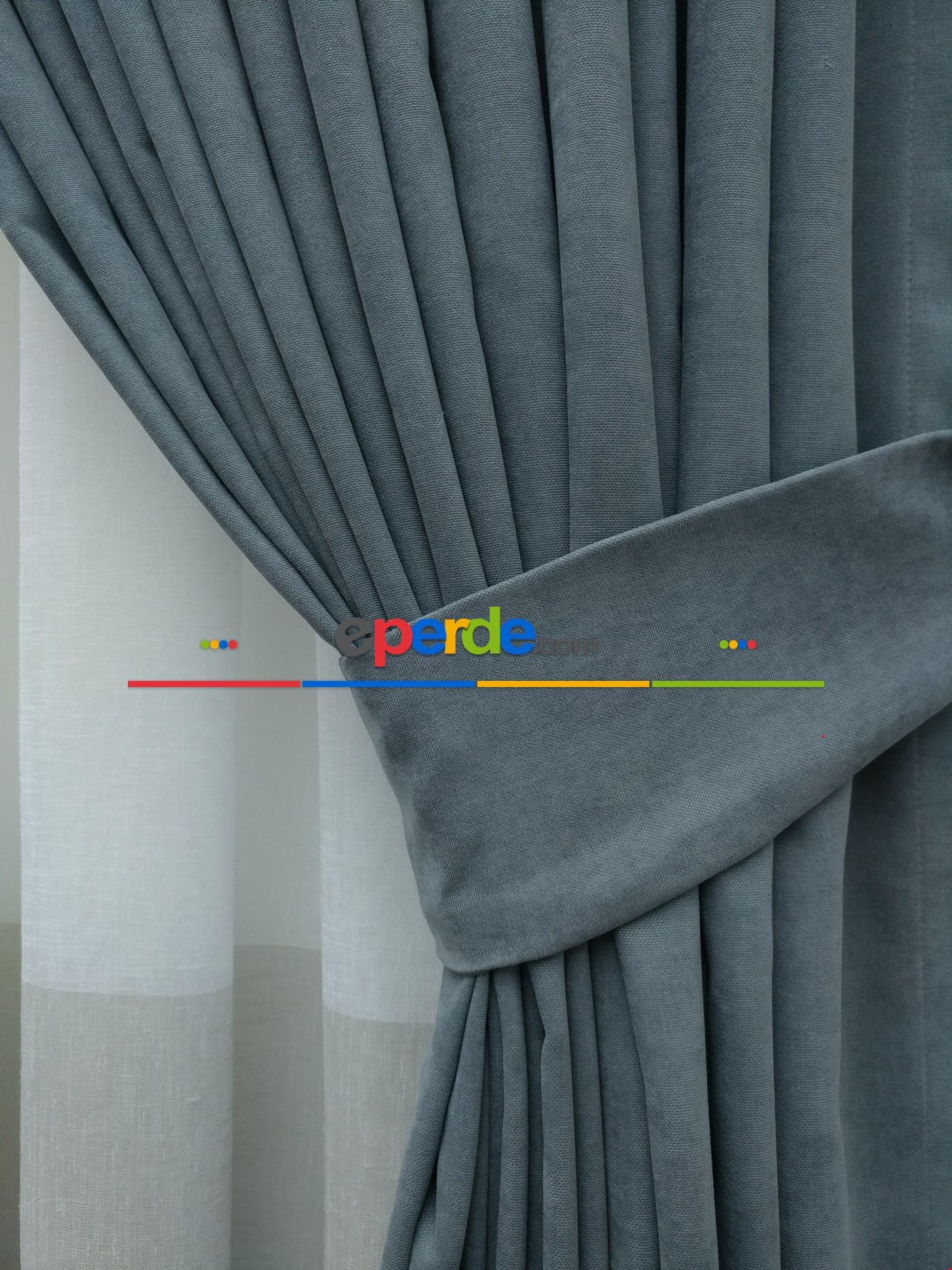 Sarı - Düz Fon Perde (150cm En Dökümlü Fon) Mavi