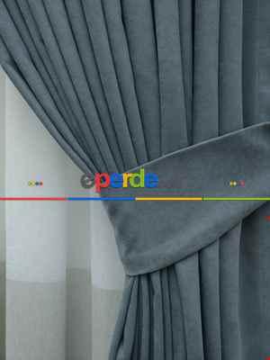 Mavi - Düz Fon Perde (150cm En Dökümlü Fon )- Mavi