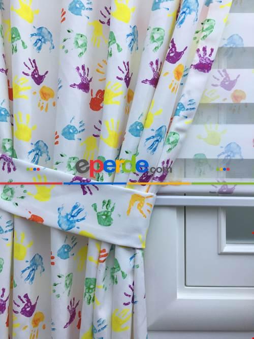 Boyalı Eller Baskılı Çocuk Odası Fon Perde - Renkli Eller