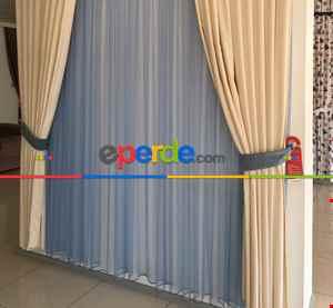 Çocuk Odası Tül Perde - Mavi Renk Düz Dokuma Tül Perde- Mavi