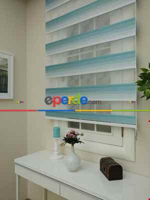 Salon Zebra Perde - Zebra Perde -turkuaz Geçişli Pileli Zebra (kalın Doku Zeminli)- Turkuaz Yeşili Ara Renk