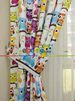 Baykuş Desenli Bebek Ve Çocuk Odası Fon Perde Modelleri- Mavi-Beyaz-Mor
