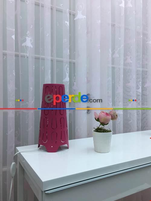 Pembe Balerin Desenli Kız Çocuk Odası İçin Tül Perde