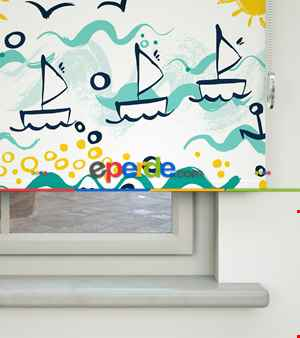 Denizci Desenli Baskılı Stor Perde- Mavi-beyaz