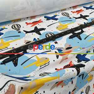 Uçak Helikopter Desenli Fon Perde Evm801 Kumaşı Kalındır Duck Bezi Değildir- Siyah-Sarı-Beyaz