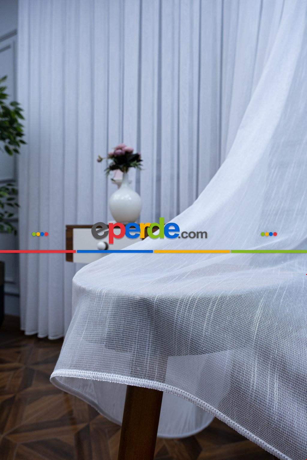 Salon Beyaz Tül Perde - 2264-v01- Beyaz