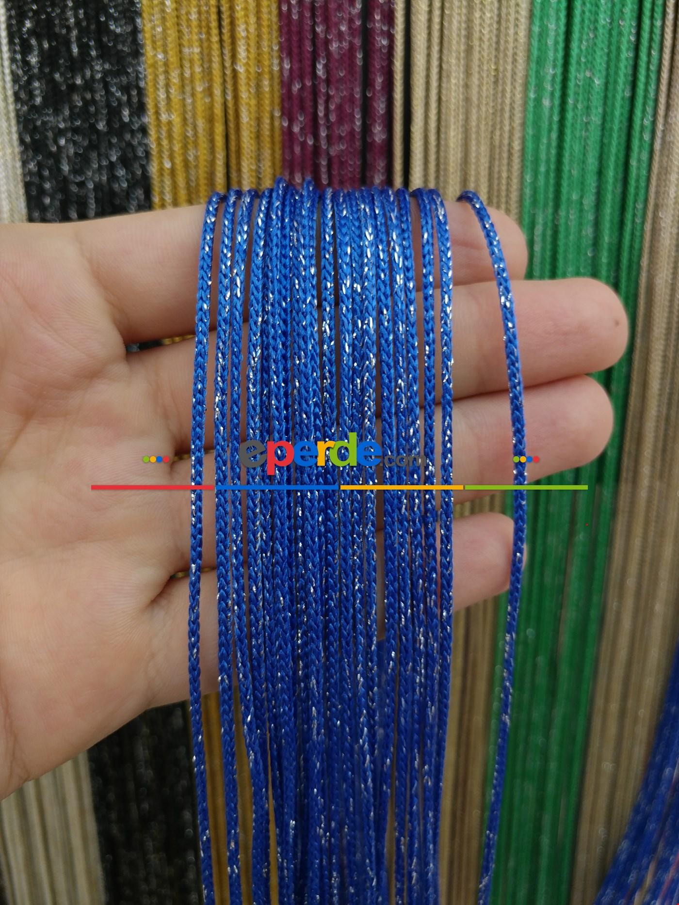 Bej Rengi İp Perde Kalın Zincir Simli Serisi Mavi - Gümüş