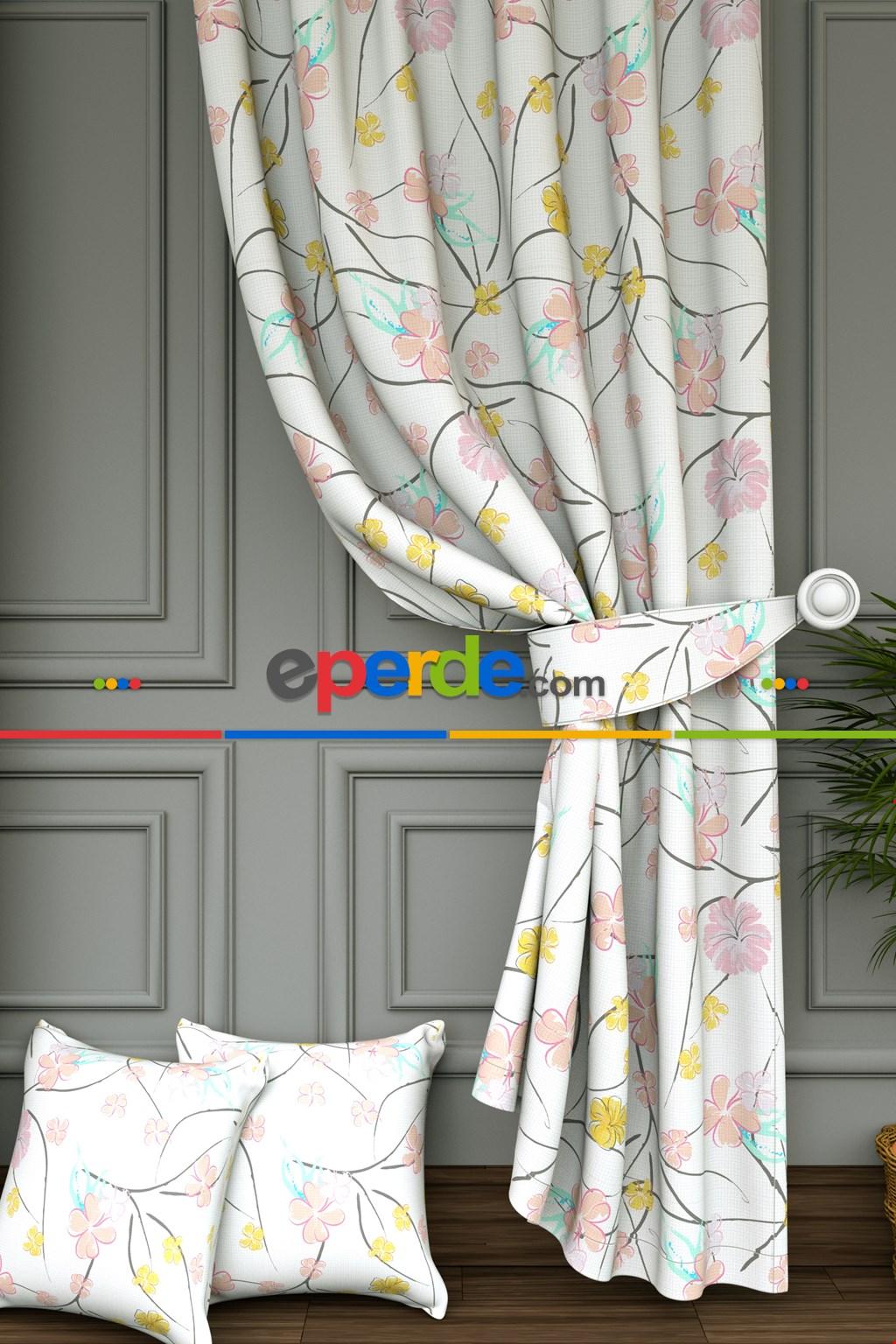 Salon - Renkli Çiçek Baskılı Fon Perde