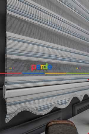 Zebra Perde - Yarım Pilise - Simli Renk Geçişli Zebra Perde