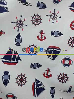 Fon Perde Denizci - Çapalı Fon Perde ( Kalın Pamuklu Kumaş )- Lacivert-mavi-kırmızı