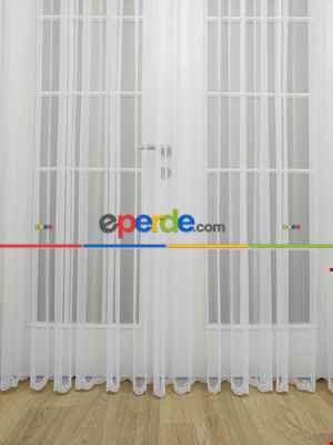 Brillant Etek Ucu Nakışlı Tül Perde - %30 Extra İndirimli- Ekru
