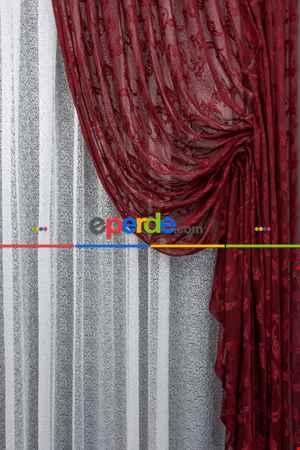 Tül Fon Koyu Renk Bordo Büzgülü Tasarım Fon Perde- Bordo 70cm X 275cm