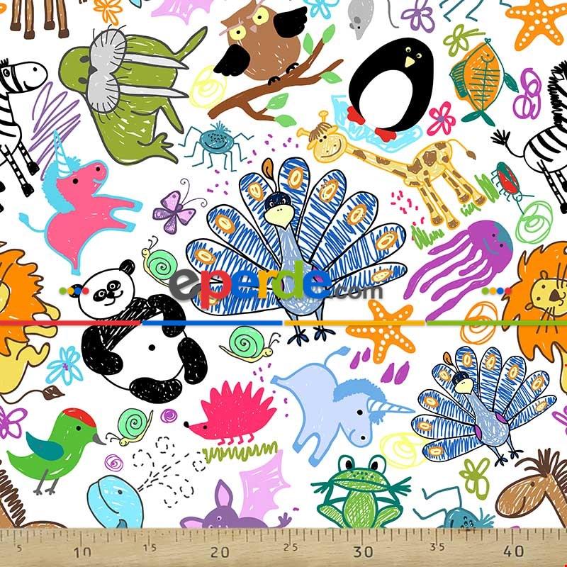 Çocuk Odası Fon Perde - Hayvan Desenli Fon Perde Evm693 Kumaşı Kalındır Duck Bezi Değildir- Yeşil