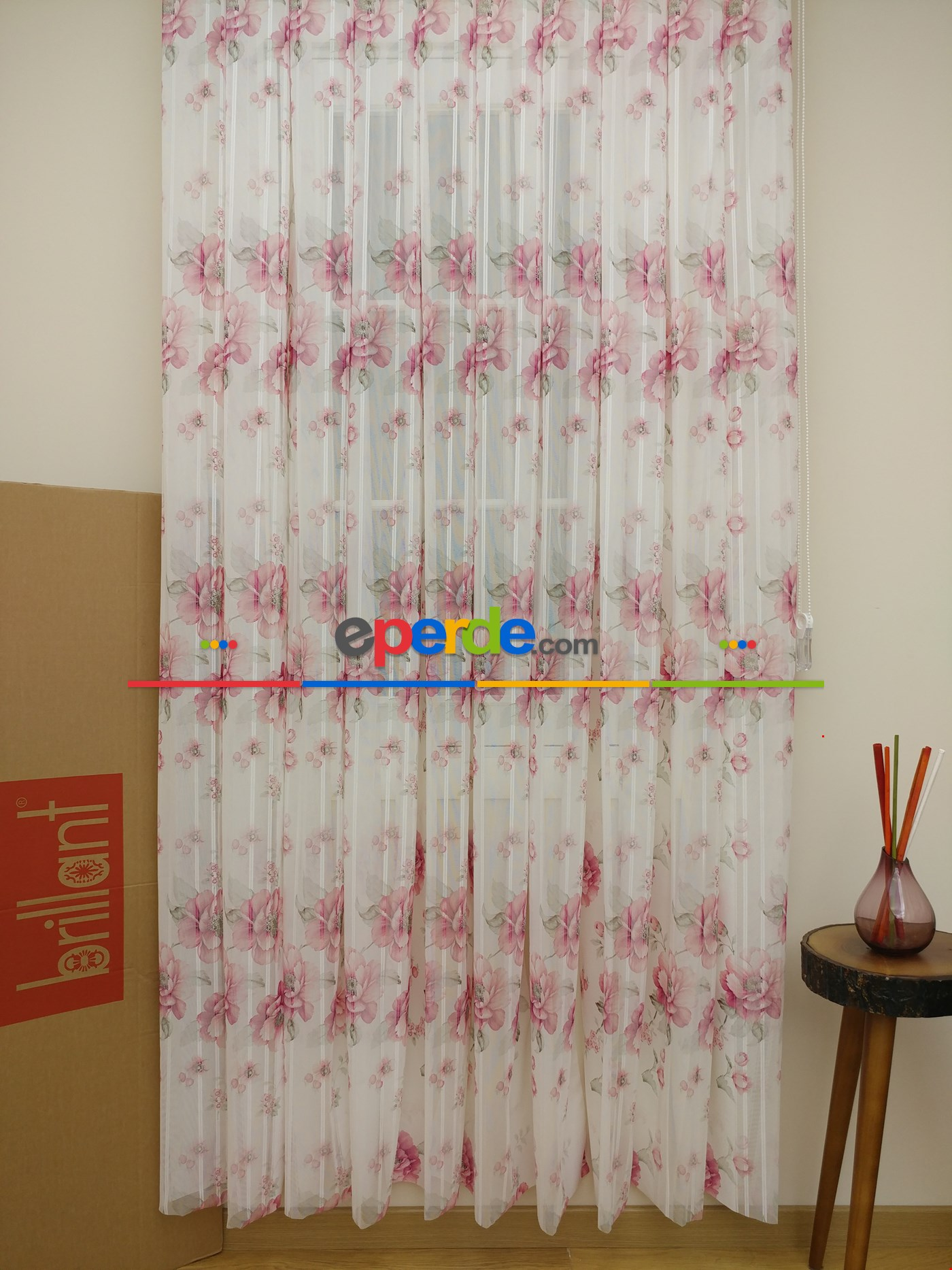 Brillant Dikey Tül Perde 2018 New Design Pembe Pudra Pembe - Ekru -  Çok Renkli 2