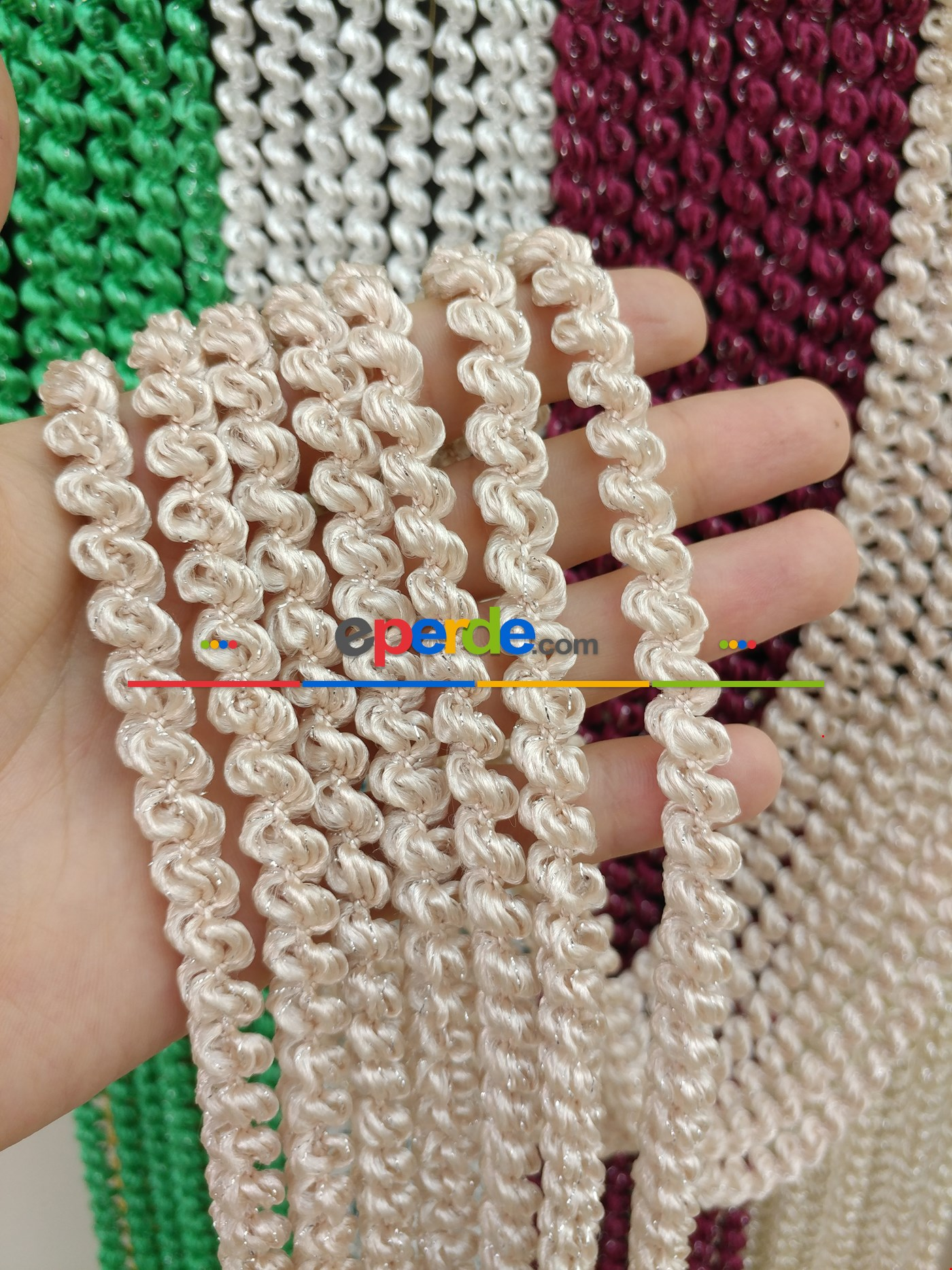 Açık Bej Rengi İp Perde Duble Bukle Serisi Pembe - Gümüş