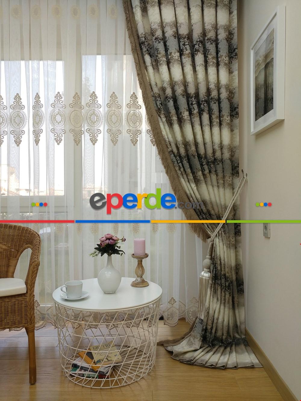 Floş Zemin Üzerine Damask Desen Nakış İşlemeli Tül Perde Yeni Seri Vizon Rengi