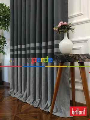 Brillant Süet Pano Fon Perde 180cm Yeni Sezon- Gri Açık-antrasit