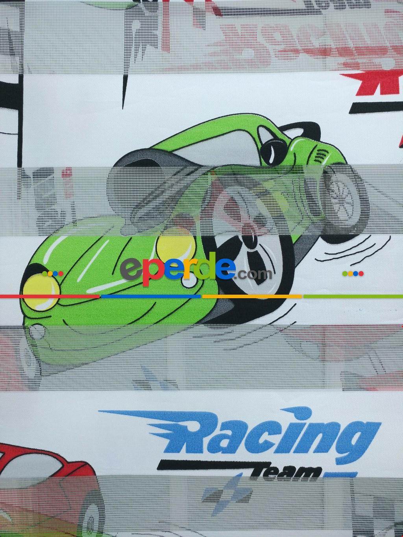 Racing Arabalı Desen Zebra Perde Kırmızı-mavi-siyah